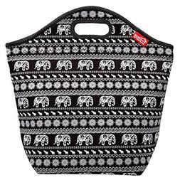 Elephant Large Lunch Bag for Women Neoprene Insulated Lunch
