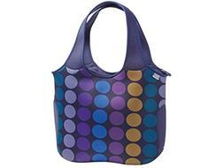 BUILT NY Essential Neoprene Shopping Tote Bag, Plum Dot