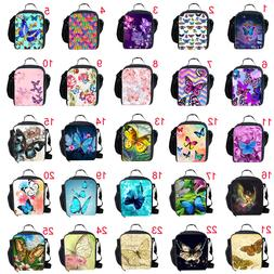 Fashion Butterfly Printed Insulated Lunch Bags for Girls Wom