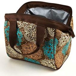 Fit & Fresh Insulated Fashion Lunch Bag Women Brown Turquois