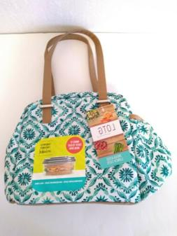 Fit & Fresh Teal Insulated Lunch Bag Adult Tote with Zipper