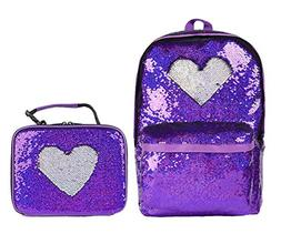 Fashion Flipper Sequins Backpack& Reversible Sequin Lunch Bo