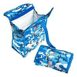 PackIt Freezable Lunch Bag with Velcro Closure, Blue Camoufl