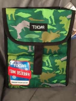 PackIt Freezable Lunch Bag box Green Dinosaurs velcro closur