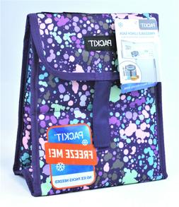 PackIt Freezable Lunch Bag box purple dots LN-CQ-PPS velcro