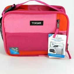 PackIt Freezable Lunch Bag with Zip Closure in Pink Orange C