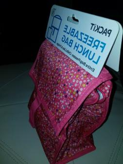 PackIt Freezable Lunch Bag with Zip Closure in Pink with Flo