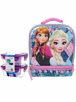 Frozen Elsa & Anna Dual Compartment Lunch Bag & 2-Count Snac