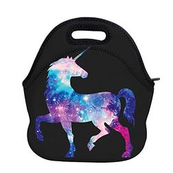 AOTIGO Unicorn Horse Galaxy Space Neoprene Lunch Bag Insulat