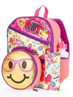Girls Emoji 5 Piece Backpack Set with Insulated Lunch Bag Sm