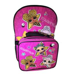 """Girls LOL Surprise Backpack 16"""" and Detachable Insulated Lun"""