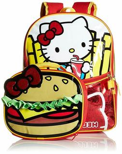 Hello Kitty Girls Burger and Fries 16 Inch School Backpack w