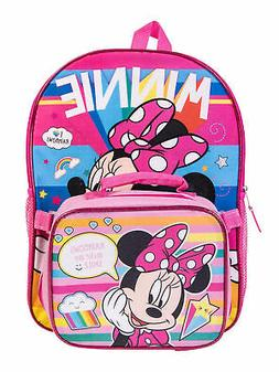"""Girls Minnie Mouse Rainbows Backpack 16"""" and Detachable Insu"""