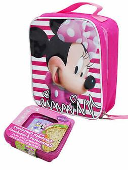 Girls Minnie Mouse Striped Insulated Lunch Bag & Sandwich Co