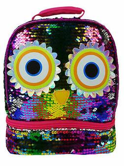 Girls Owl 2-Way Sequin Insulated Lunch Bag Dual Compartment