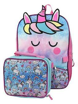 "Girls Unicorn 16"" Backpack with Detachable Insulated Lunch B"