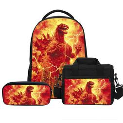 Godzilla Backpack for Kids Insulated Lunch Bag Small Bag Pen