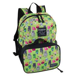 Minecraft Green 16 Inch Kids Sprites Backpack w Detachable I