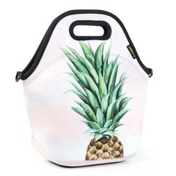 Green Pineapple Neoprene Lunch Bag Thermal Insulated Travel