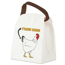 CafePress Guess What Chicken Butt Canvas Lunch Bag with Stra