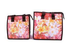 Hawaiian Print Thermal Insulated Zipper Lunch Bag Red Plumer