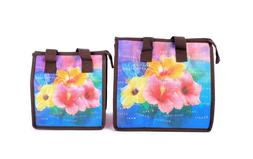 Hawaiian Print Thermal Insulated Zipper Lunch Bag Hibiscus I