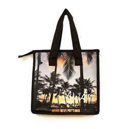 Hawaiian Print Thermal Insulated Zipper Lunch Bag Orange Sun