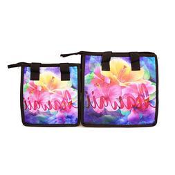 Hawaiian Print Thermal Insulated Zipper Lunch Bag Pink Purpl