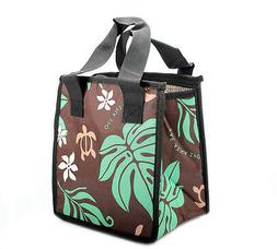 Hawaiian Print Thermal Insulated Zipper Lunch Bag Turtle and