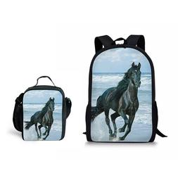Horse Designs Backpack Mens Boys School Bookbag with Bento L