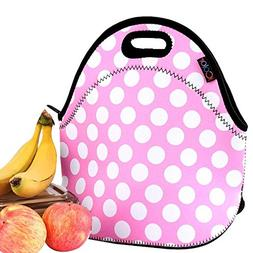 iColor Pink Polka Dots Insulated Lunch Tote Bag Cooler Box N
