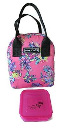 Insulated Floral Pink Fabric Lunch Tote w/ Food Container