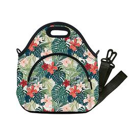 Insulated Lunch Bag,Neoprene Lunch Tote Bags,Leaf,Summer Bea