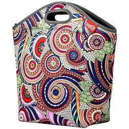 """Large Insulated Lunch Bag, 14"""" x 14"""" x 5.5"""" Extra Large Neop"""