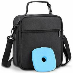 Insulated Lunch Bag Box with Ice Pack & Shoulder Strap f