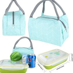 Insulated Lunch Bag + Microwave Bento Lunch Box with Soup Bo
