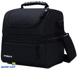 Insulated Lunch Bag With Shoulder Strap Outside Pocket Zippe