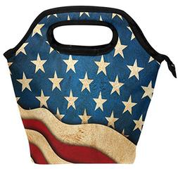 ALAZA Insulated Lunch Cooler Bag, Vintage Star And Stripes U