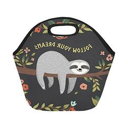 InterestPrint Insulated Lunch Tote Bag Cute Baby Sloth Reusa