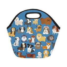 InterestPrint Insulated Lunch Tote Bag Cute Puppy Pug Dog Re