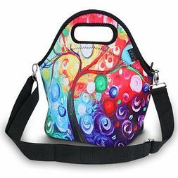 ICOLOR Insulated Neoprene Lunch Bag - Removable Shoulder Str