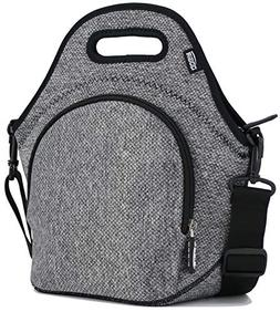 QOGiR Insulated Neoprene Lunch Bag Tote with Zipper Pocket &