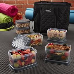 Fit & Fresh JAXX Black Quilted TOTE Bag, Stylish Fitpak Meal