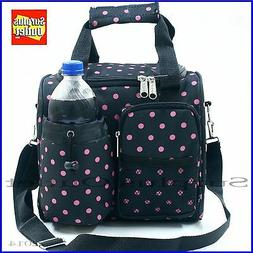 Black Insulated Lunch Bag Cooler Adjustable Straps Removable