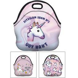 Kids Girls Neoprene Unicorn Lunch Bag Handle Nursery Thermal