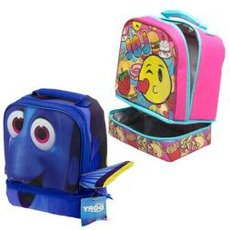 Kids Insulated 2-Section Padded Lunch Bags Lunchbox Containe