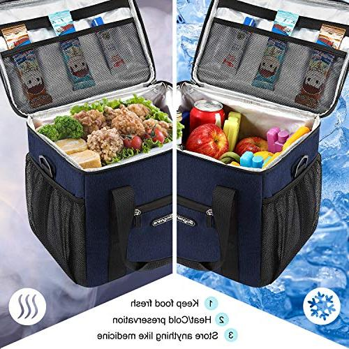 Bagmine 15 Bag Soft Collapsible Insulated Bag Cooler Tote for Pinic Liter, Navy Blue