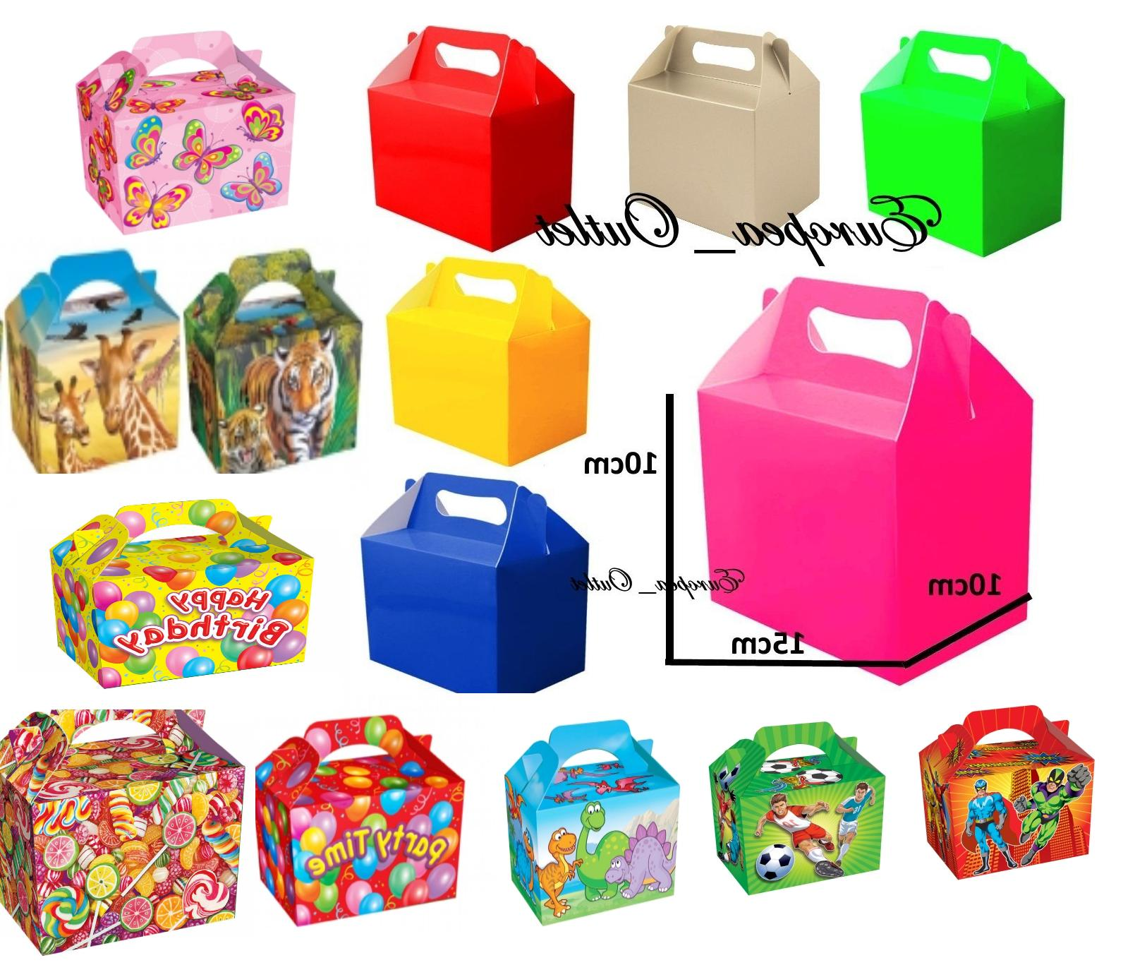 10 children kids party lunch boxes colour