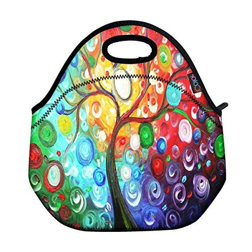 ICOLOR Colorful Tree Insulated Neoprene Lunch Bag Tote Handb