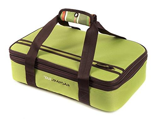 """Rachael Expandable Lugger, Double for Tailgates 9""""x13"""" Dishes,"""